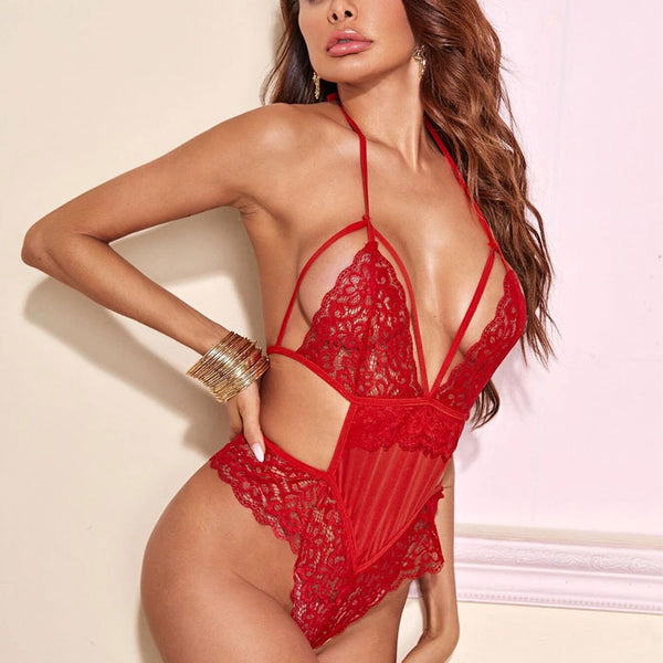 Sexy Red Lace Hollow Sling Pajamas Conjoined Intimate Teenage Lingerie