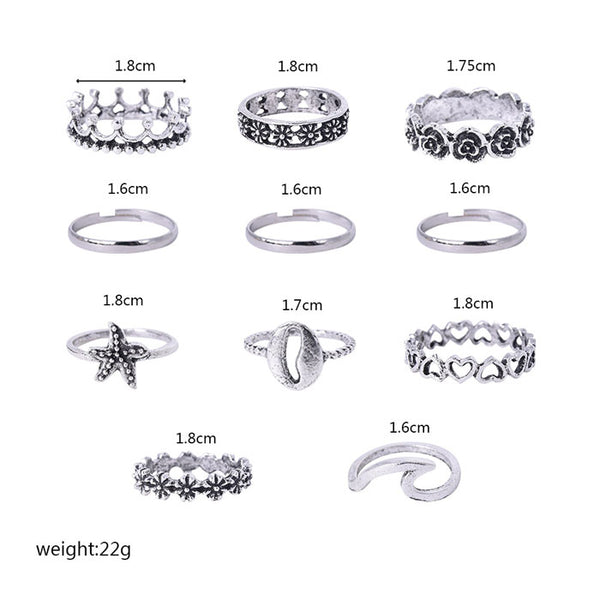 Lovely Starfish Wave Shell Ring Retro Hollow Love Crown Pattern 11-piece Women Ring