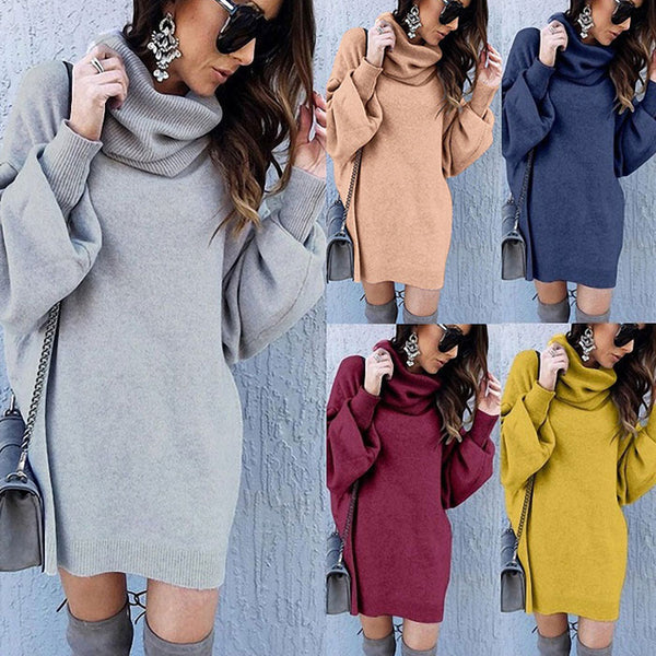 Winter Coat For Women Pure Color Loose Long Turtleneck Sweater Dress Jacket Coat
