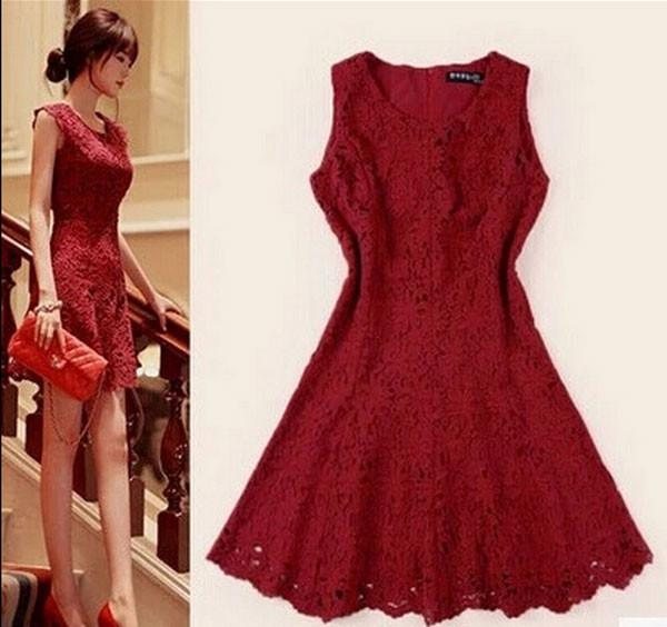 Nice Wine Red Hook flower Hollow Lace Fishtail Dress - lilyby