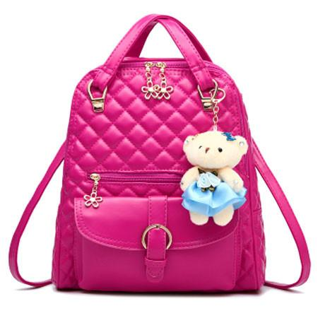 Fresh Quilted Backpack Flower Zipper Shoulder Bag Bear Handbag - lilyby