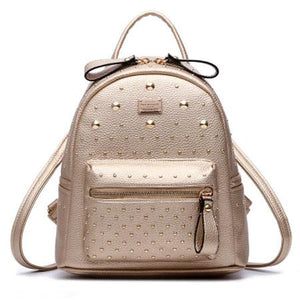 Vintage Rivet Backpack Champagne Bilateral Zipper Travel Bag For Big Sale!- Fowish.com