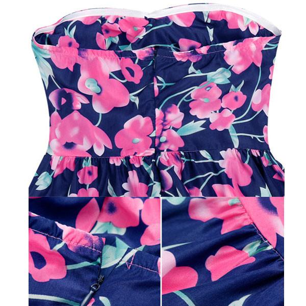 Big Flowers Printing Wrapped Chest Slim Waist Dresss - lilyby