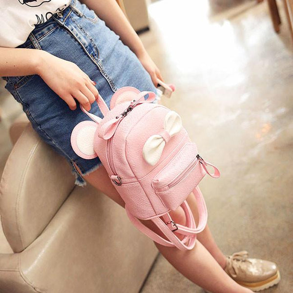 Cute Cartoon School Mini Bow Kitty Ears PU Backpacks For Big Sale!- Fowish.com