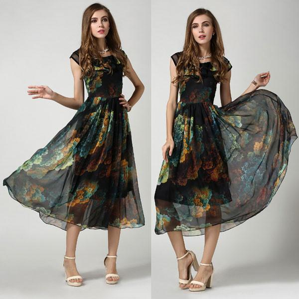 Fashion Colorful Retro Black Print Dress - lilyby