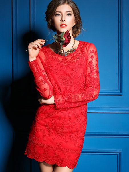 Elegant Stylish Embroidery Long-sleeved Dress - lilyby