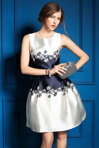Small chrysanthemum Printing Round Neck Elegant Sleeveless Dress For Big Sale!- Fowish.com