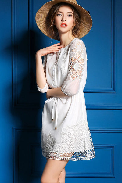 Elegant Hollow Sleeve In Embroidered Slim Party Dress - lilyby