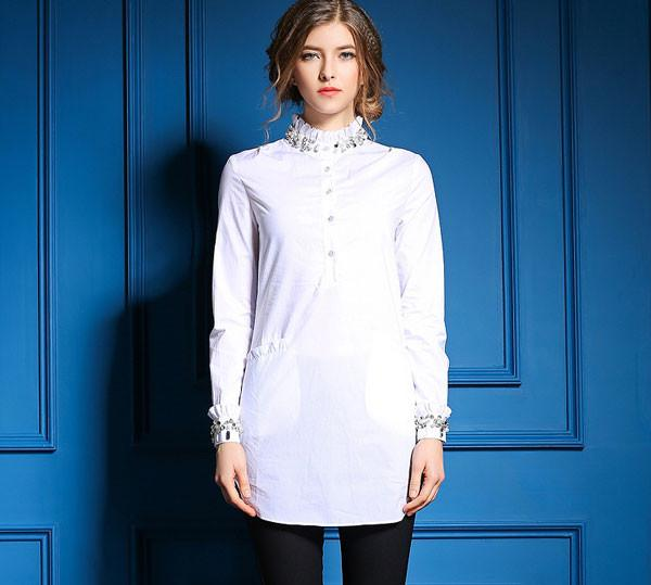 New Style Neckline Beaded Elegant White Dress Shirt - lilyby