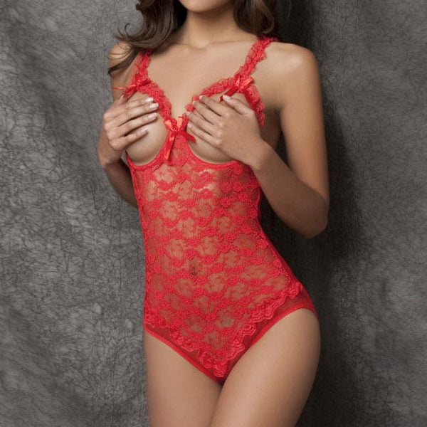Sexy Exposed Breasts Open Files Pants Women's Lace  See Through Rose Embroidery Bow Mesh Lingerie For Big Sale!- Fowish.com
