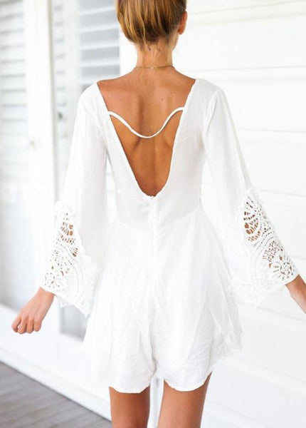 Sexy V-neck Halter White Lace Jumpsuit For Big Sale!- Fowish.com