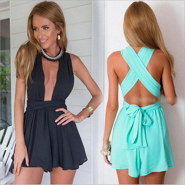 Sexy Soild Cross Straps Halter Beach Shorts Romper For Big Sale!- Fowish.com