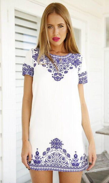 Blue and White Printing Round Neck Fashion Dress - lilyby