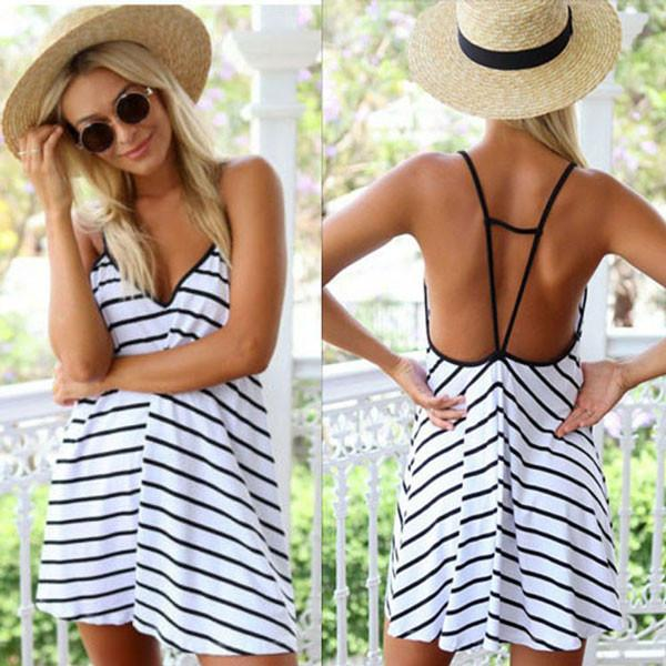 Sexy V-neck Stripes Loose Halter Dress For Big Sale!- Fowish.com
