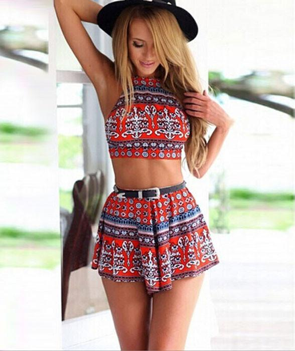 Summer Fashion Sexy Halter Printing Two Suits For Big Sale!- Fowish.com