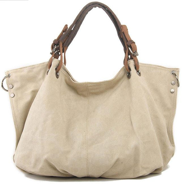 Simple Large Capacity Corrugated Travel  Women Thick Canvas Shoulder Bag Handbag For Big Sale!- Fowish.com