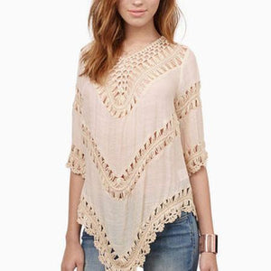 Long Sleeve Bikini Smock Crochet Hollow Lace Knitted Top - lilyby
