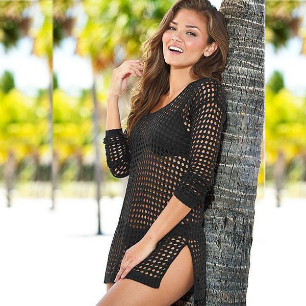 Women Bikini Dress Knitted Shirt Sunscreen Clothing Blouse Beachwear For Big Sale!- Fowish.com