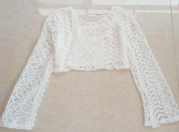 Sexy Openwork Lace White Long-sleeved Tops For Big Sale!- Fowish.com