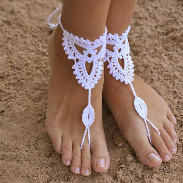 Crocheted Barefoot Sandal Knitted Foot Jewelry  Anklet - lilyby