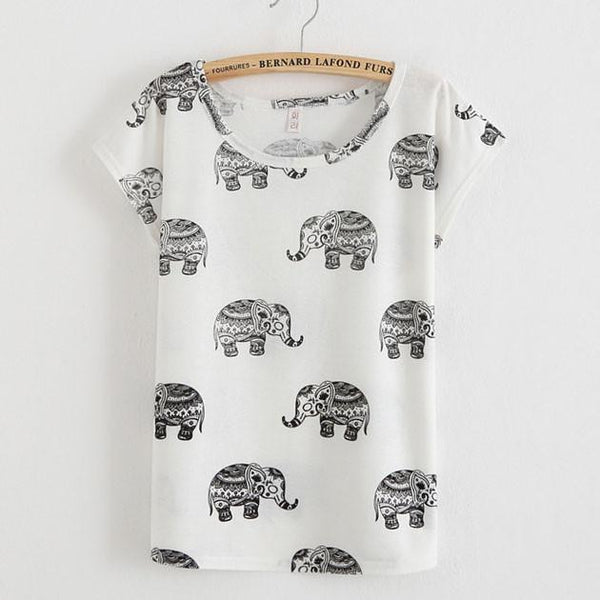 Lovely Elephant Cartoon Printed T-Shirt - lilyby