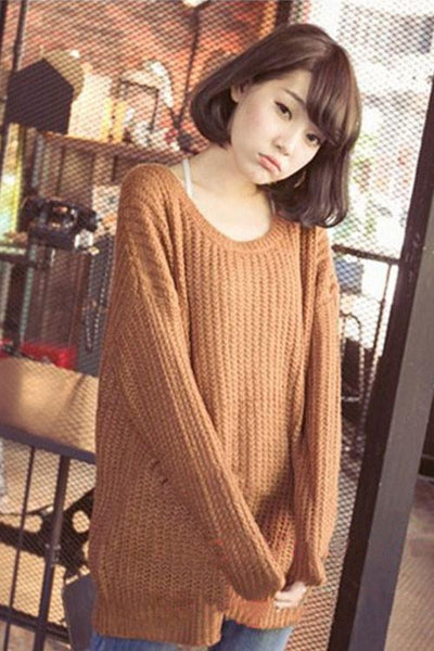 Round Neck Variegated Long Loose Wool Sweater For Big Sale!- Fowish.com