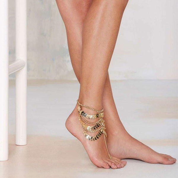 Retro Hyperbole Gold Leaf Multi-Chain Tassels Anklet Foot Jewelry - lilyby
