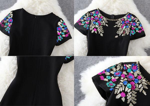Casual Short Heavy Beading Colorful Sequined Dress - lilyby