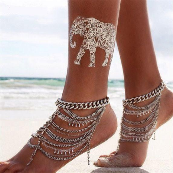 Retro Crystal Silver Multi-Chain Water Droplets Tassels Anklet - lilyby
