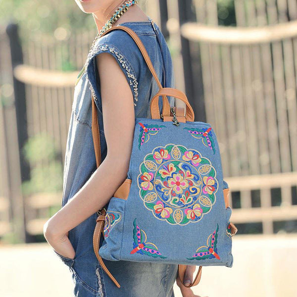 Retro  Flower Embroidery Cowboy Backpack Folk Style Travel Backpack For Big Sale!- Fowish.com
