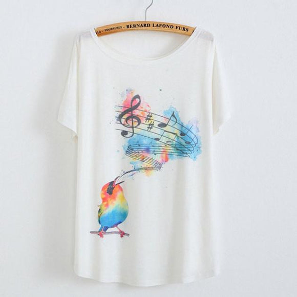 Birds sing Notes Animal Printed T-Shirt - lilyby