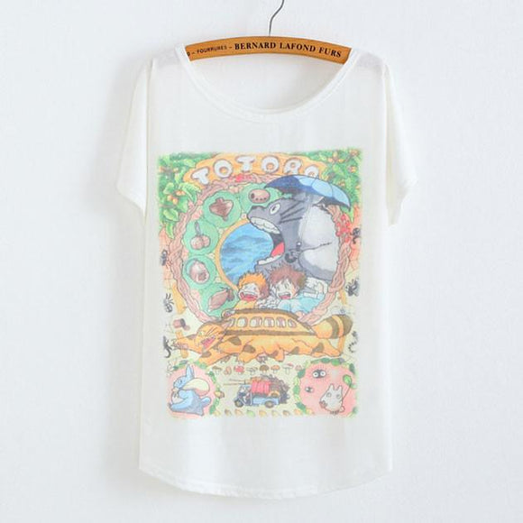 My Neighbor Totoro Animal Printed Cotton T-Shirt - lilyby