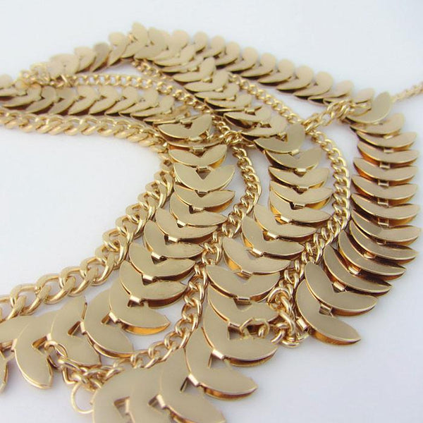 Retro Hyperbole Gold Leaf Multi-Chain Tassels Anklet Foot Jewelry For Big Sale!- Fowish.com