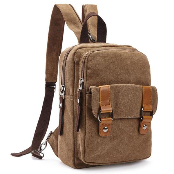 Retro Small Splicing Belts Multifunction Shoulder Bag Dual-purpose Canvas School Backpacks For Big Sale!- Fowish.com