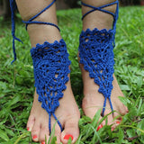 Handmade Barefoot Sandal Knitted Flower Foot Jewelry Beach Anklet Foot Chain - lilyby