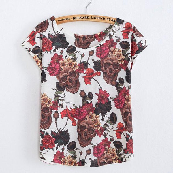 Laughing Skull Flower Printed T-Shirt - lilyby