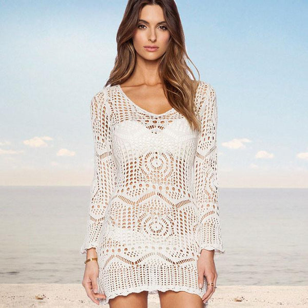 Knitted White Hollow Dress Beach Perspective Smock Dress - lilyby