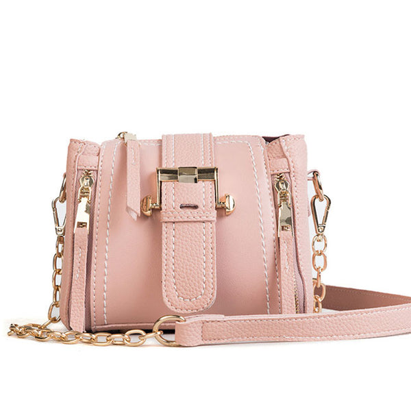 Elegant Double Vertical Zipper Lady Single Buckle Shoulder Bag Chain Messenger Bag