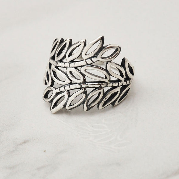 Vintage Hollow Leaves Branch Silver Open Ring Leaf Ring