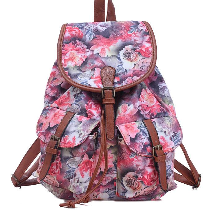 Leisure Rose Floral College Rucksack Flower School Canvas Backpack - lilyby