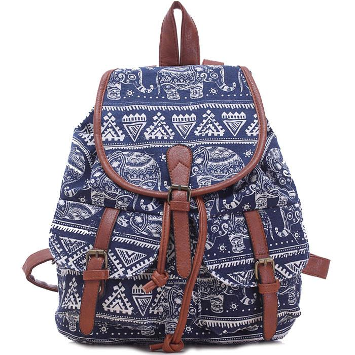 Leisure Elephant School Rucksack For Girl Totem College Canvas Backpack - lilyby