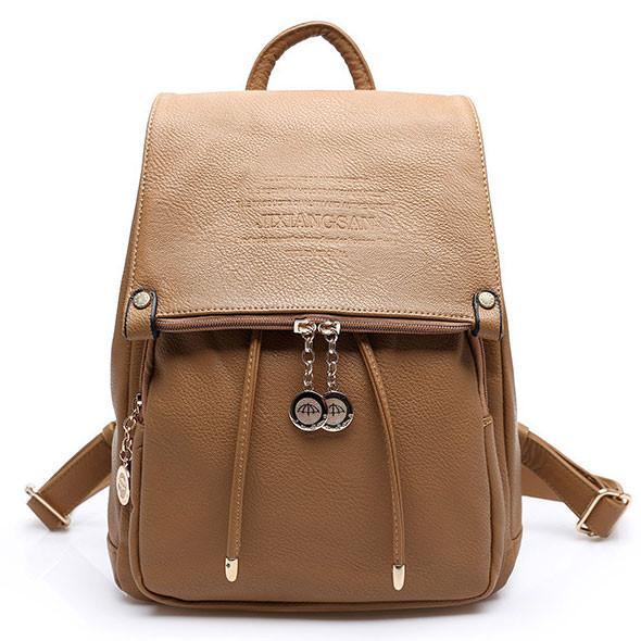 Lady Double Zipper Button Backpack Solid Color Travel Bag - lilyby