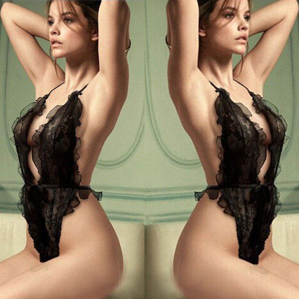 Sexy Lace Ruffle Hollowed-out See Through Halter Backless Jumpsuits Black Sweet Lady Lingerie For Big Sale!- Fowish.com