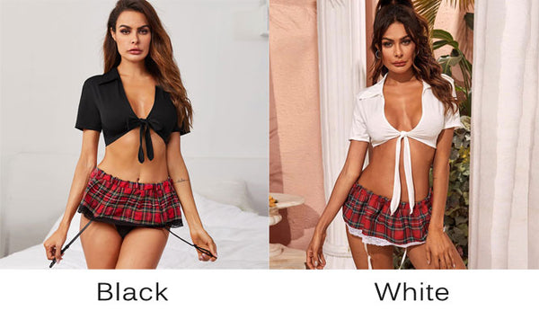 Sexy Perspective Black White Lace Plaid Skirt Suit Underwear Student Cosplay Student Uniform Hot Intimate Lingerie