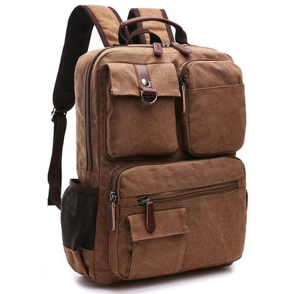 Vintage Brown Large Capacity School Canvas Laptop Backpack Multi-pocketed Outdoor Travel Backpack For Big Sale!- Fowish.com