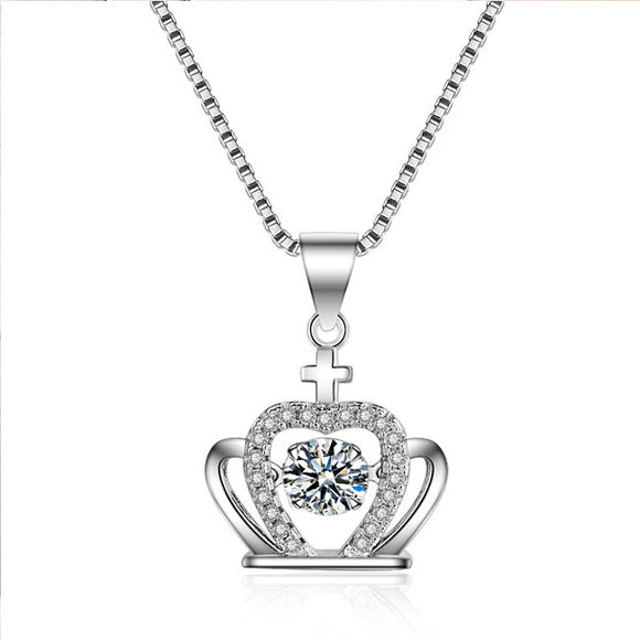 Cute Crown Diamond Women's Crown Cross Silver Crystal Necklace