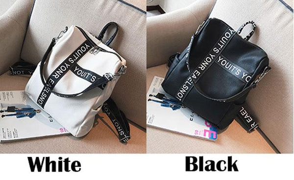 Unique Letters Black White Contrast Color Girl's Square Large Multi-function Shoulder Bag School Backpack For Big Sale!- Fowish.com