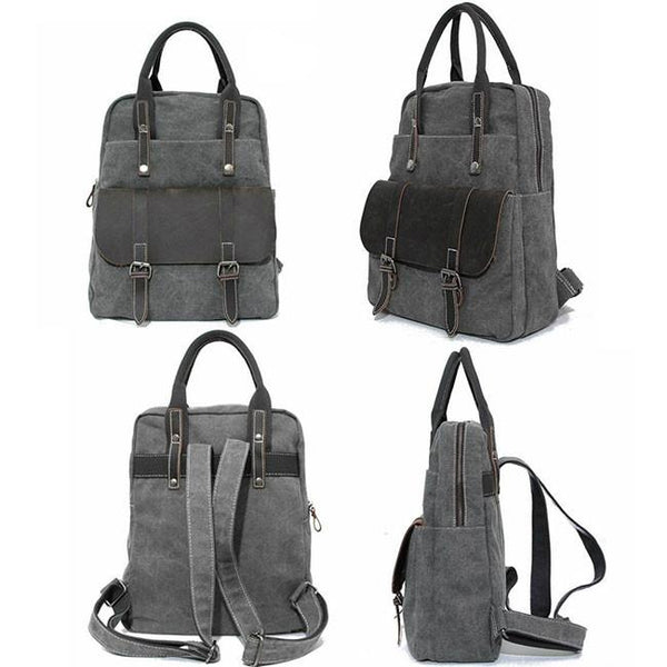 Useful Multi-function Leather Briefcase Splicing Large Canvas Travel Handbag Backpack For Big Sale!- Fowish.com