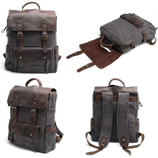 ac3c8f9541 Retro Large Thick Canvas Travel Bag Rucksack Splicing Leather Camping  Backpack For Big Sale!