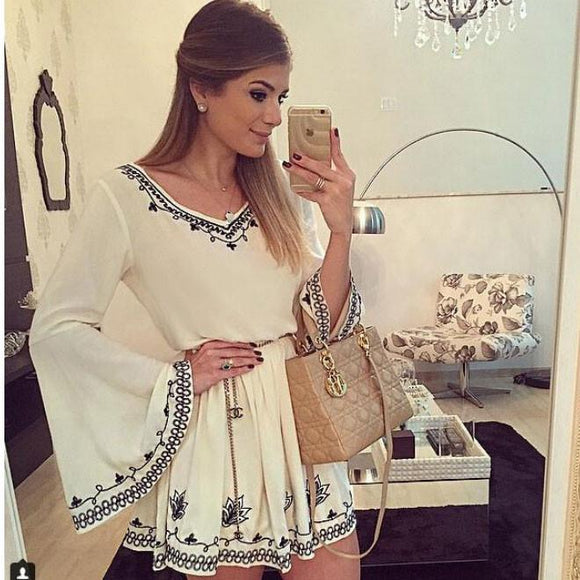 Retro Embroidery Flare Sleeve White V Neck Dress Short Skirt - lilyby